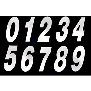 "Stick-on 6"" slanted number 0 (WHITE)"